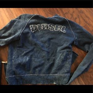 NWT Diesel blue jean frayed logo zip up shirt